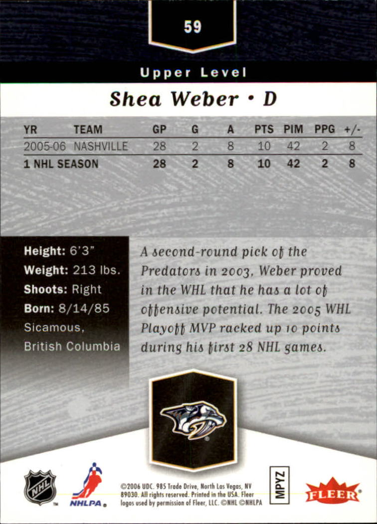 2006-07 Flair Showcase #59 Shea Weber RC back image