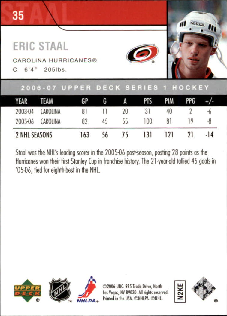 2006-07 Upper Deck #35 Eric Staal back image