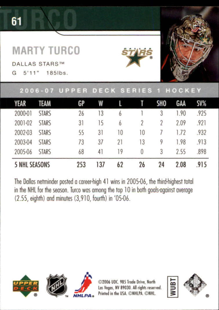 2006-07 Upper Deck #61 Marty Turco back image