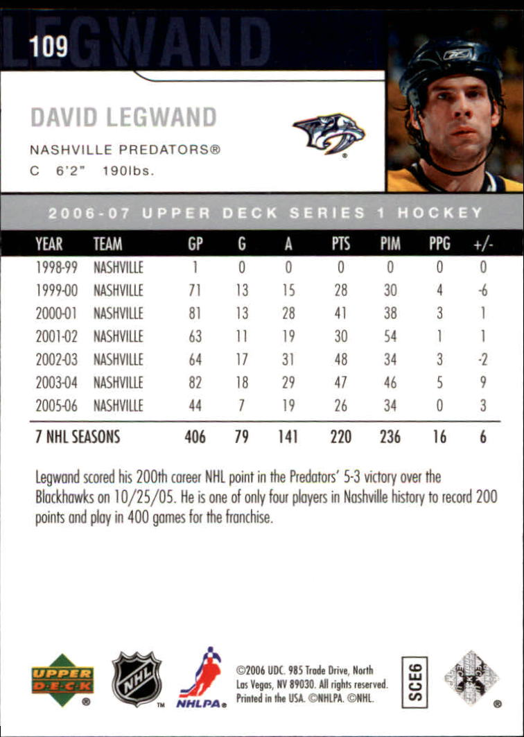 2006-07 Upper Deck #109 David Legwand back image