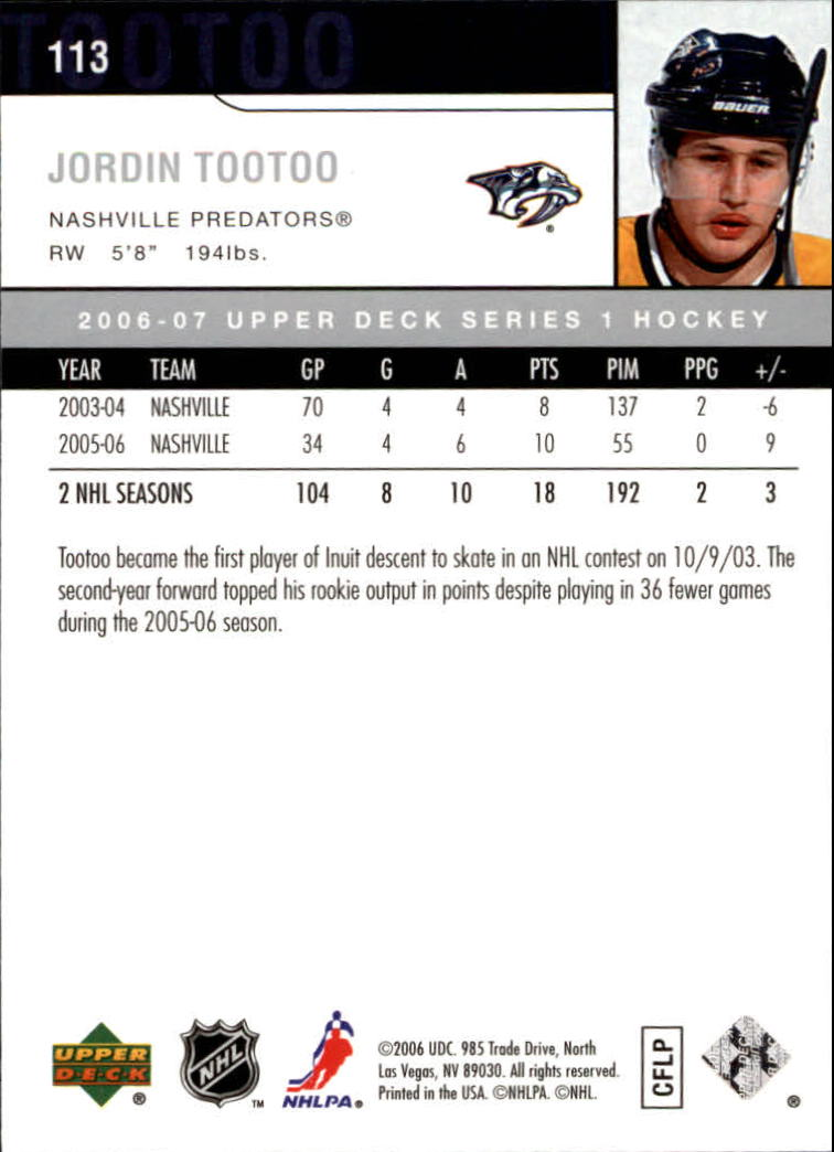 2006-07 Upper Deck #113 Jordin Tootoo back image