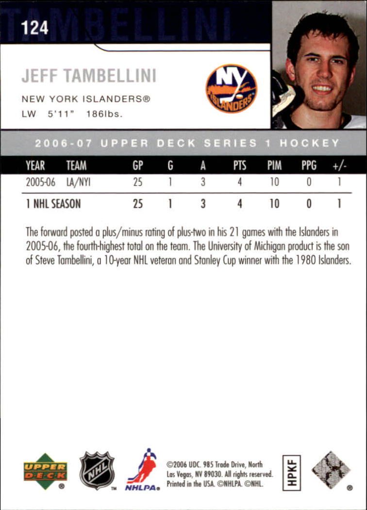 2006-07 Upper Deck #124 Jeff Tambellini back image