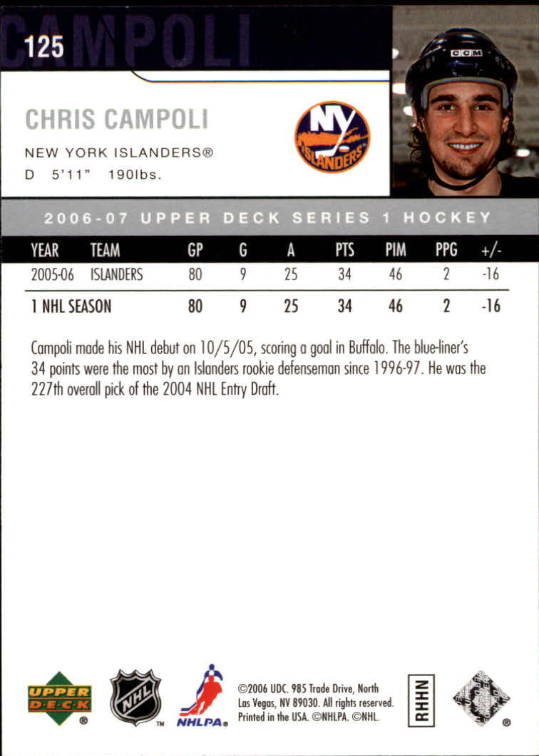 2006-07 Upper Deck #125 Chris Campoli