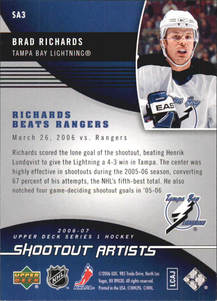2006-07 Upper Deck Shootout Artists #SA3 Brad Richards back image