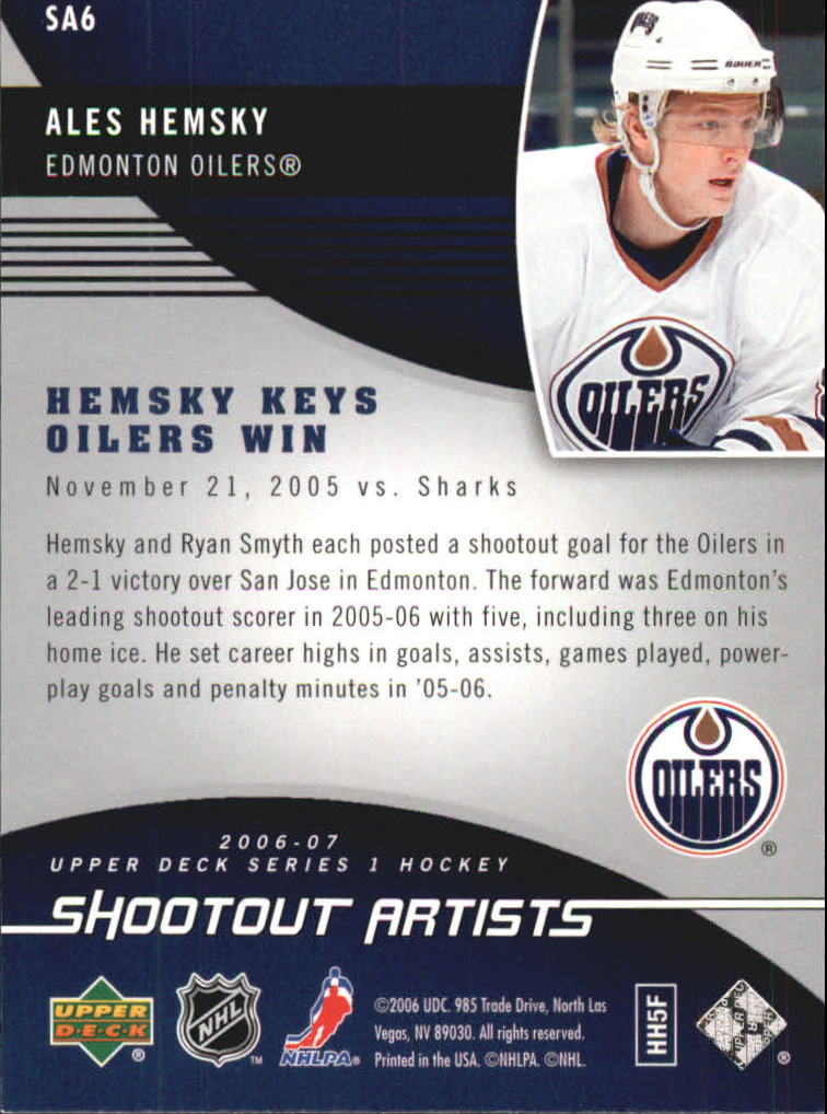 2006-07 Upper Deck Shootout Artists #SA6 Ales Hemsky back image