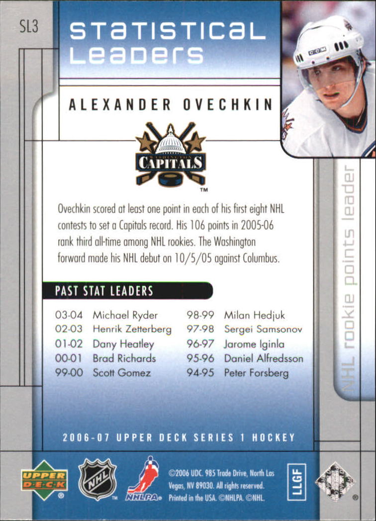 2006-07 Upper Deck Statistical Leaders #SL3 Alexander Ovechkin back image