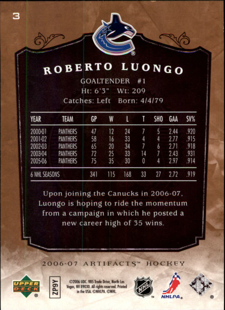 2006-07 Artifacts #3 Roberto Luongo back image