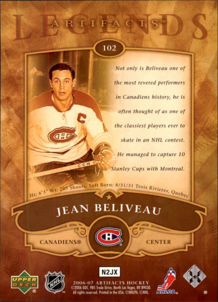 2006-07 Artifacts #102 Jean Beliveau LEG back image