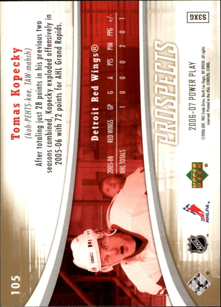 2006-07 Upper Deck Power Play #105 Tomas Kopecky RC back image