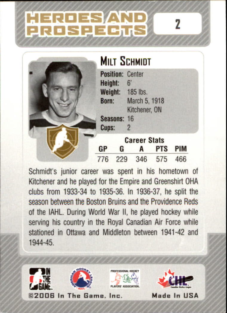 2006-07 ITG Heroes and Prospects #2 Milt Schmidt back image