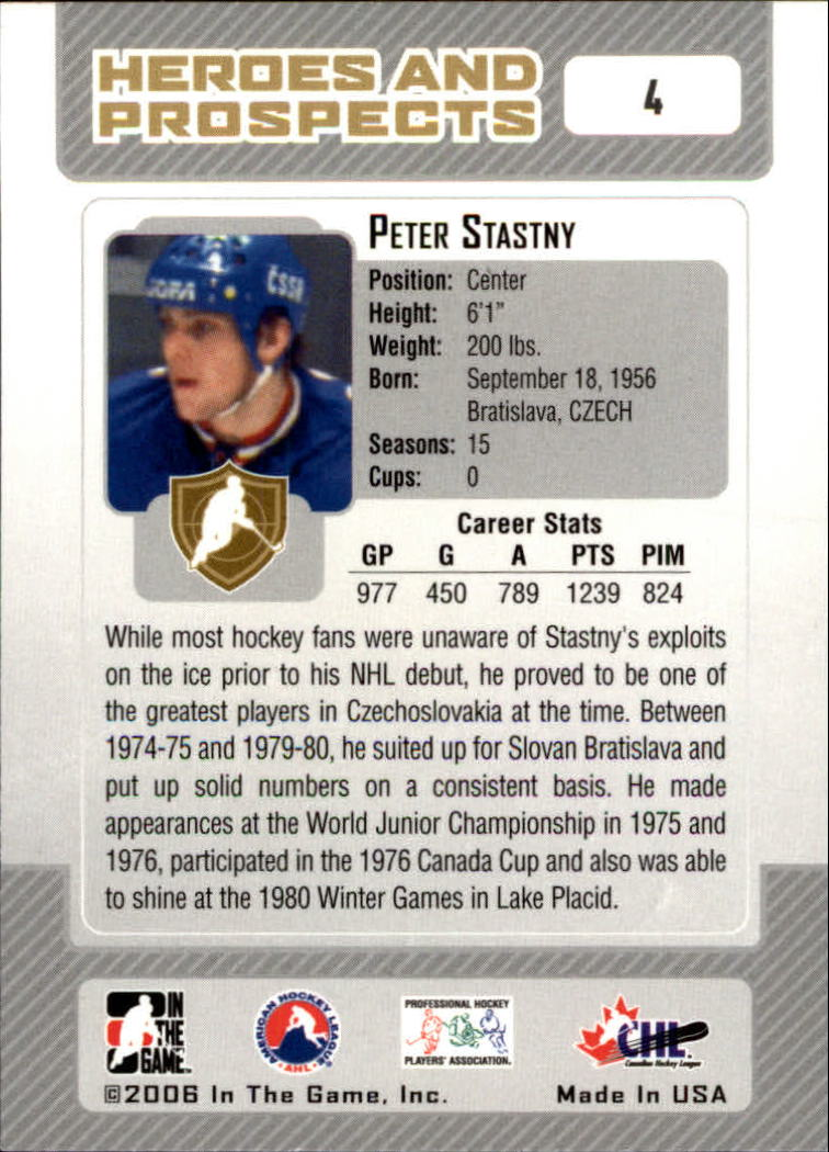 2006-07 ITG Heroes and Prospects #4 Peter Stastny back image