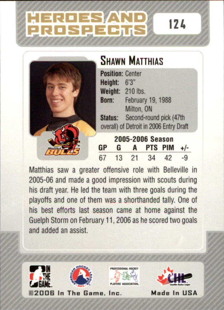 2006-07 ITG Heroes and Prospects #124 Shawn Matthias back image