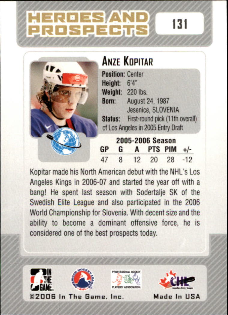 2006-07 ITG Heroes and Prospects #131 Anze Kopitar back image