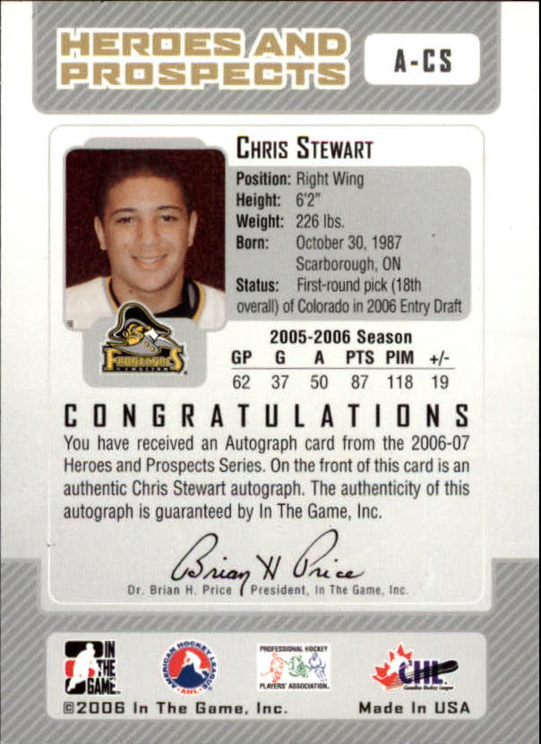2006-07 ITG Heroes and Prospects Autographs #ACS Chris Stewart back image