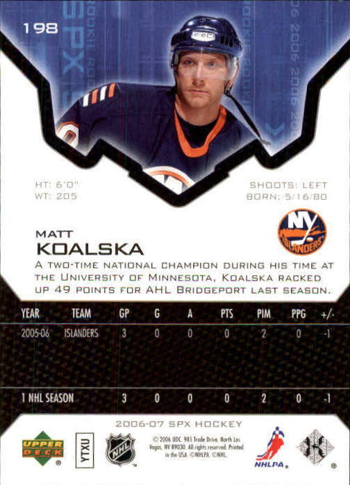 2006-07 SPx #198 Matt Koalska RC back image