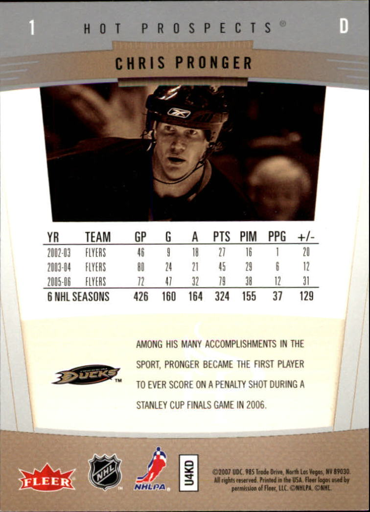 2006-07 Hot Prospects #1 Chris Pronger back image