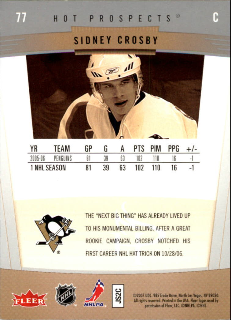 2006-07 Hot Prospects #77 Sidney Crosby back image