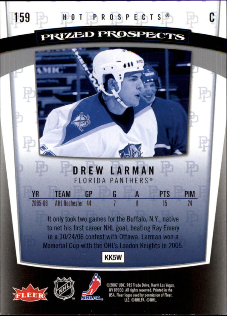 2006-07 Hot Prospects #159 Drew Larman RC back image