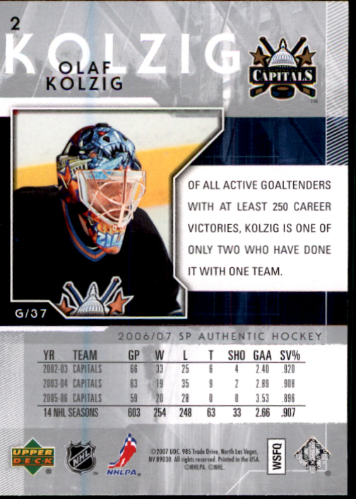 2006-07 SP Authentic #2 Olaf Kolzig back image