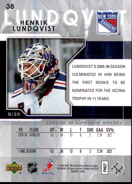 2006-07 SP Authentic #38 Henrik Lundqvist back image
