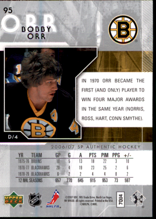 2006-07 SP Authentic #95 Bobby Orr back image