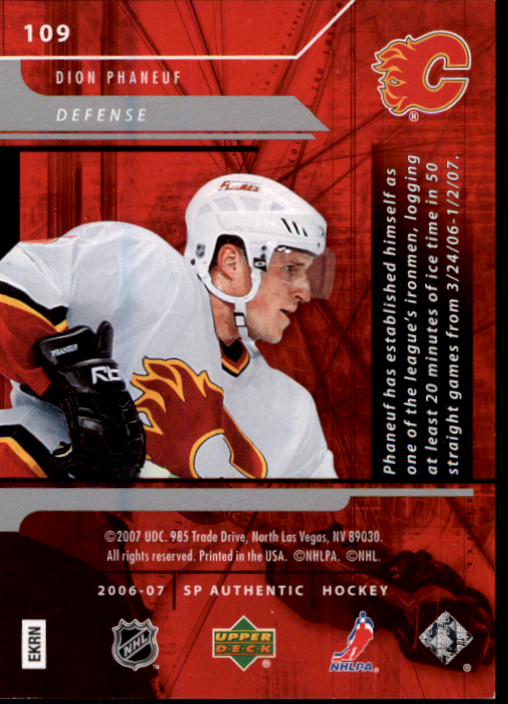 2006-07 SP Authentic #109 Dion Phaneuf N back image