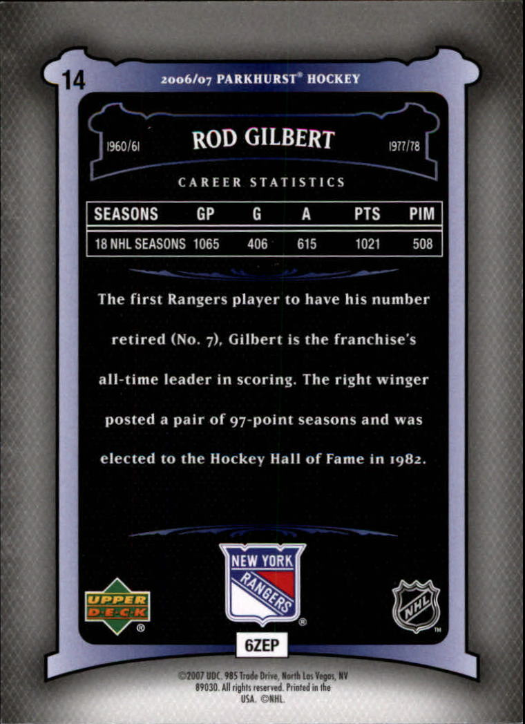 2006-07 Parkhurst #14 Rod Gilbert back image