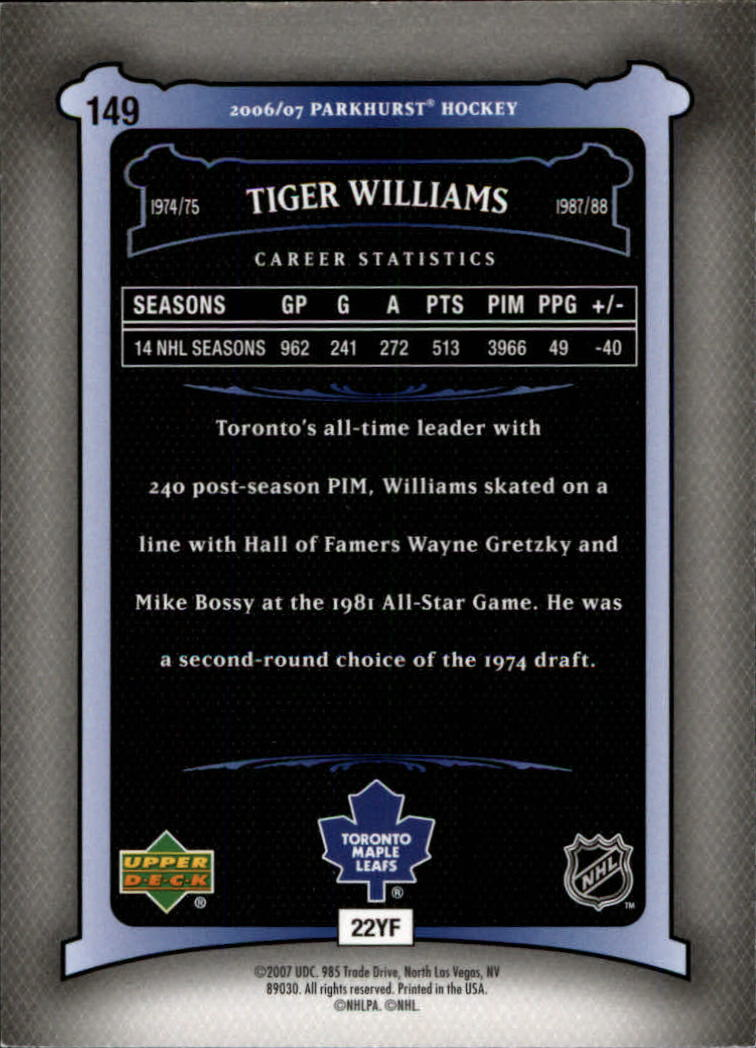 2006-07 Parkhurst #149 Tiger Williams back image