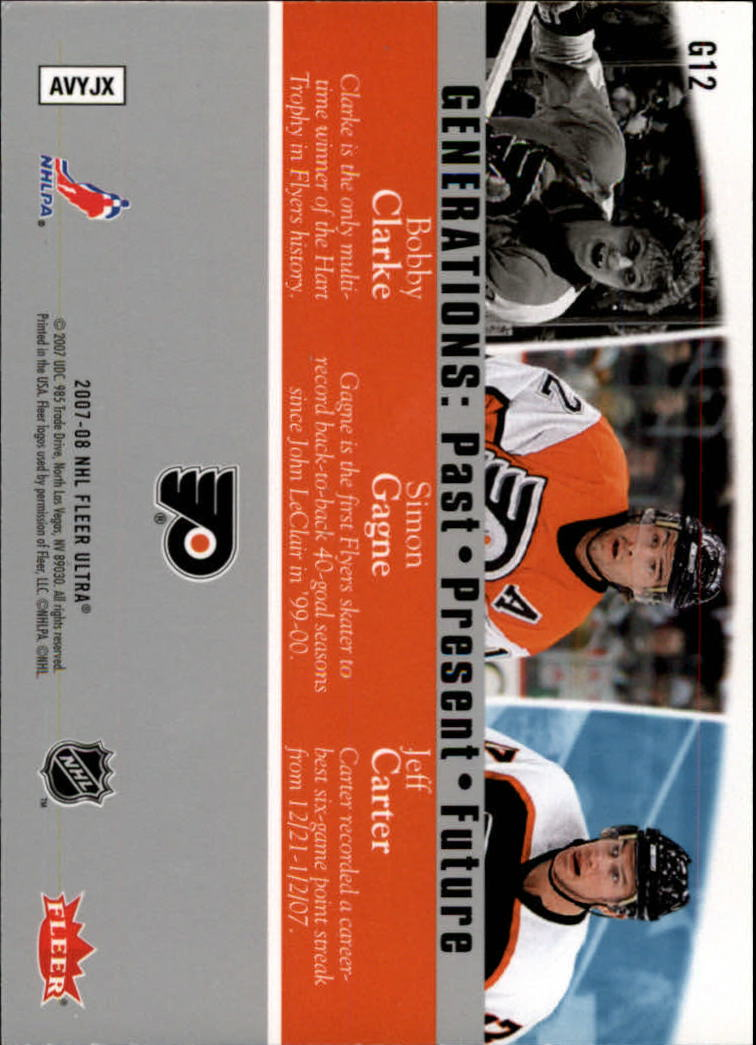 2007-08 Ultra Generations #G12 Bobby Clarke/Simon Gagne/Jeff Carter