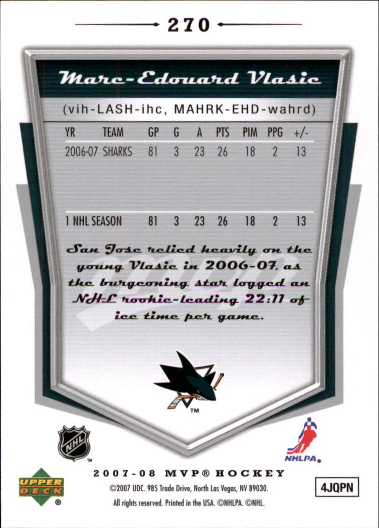 2007-08 Upper Deck MVP #270 Marc-Edouard Vlasic back image
