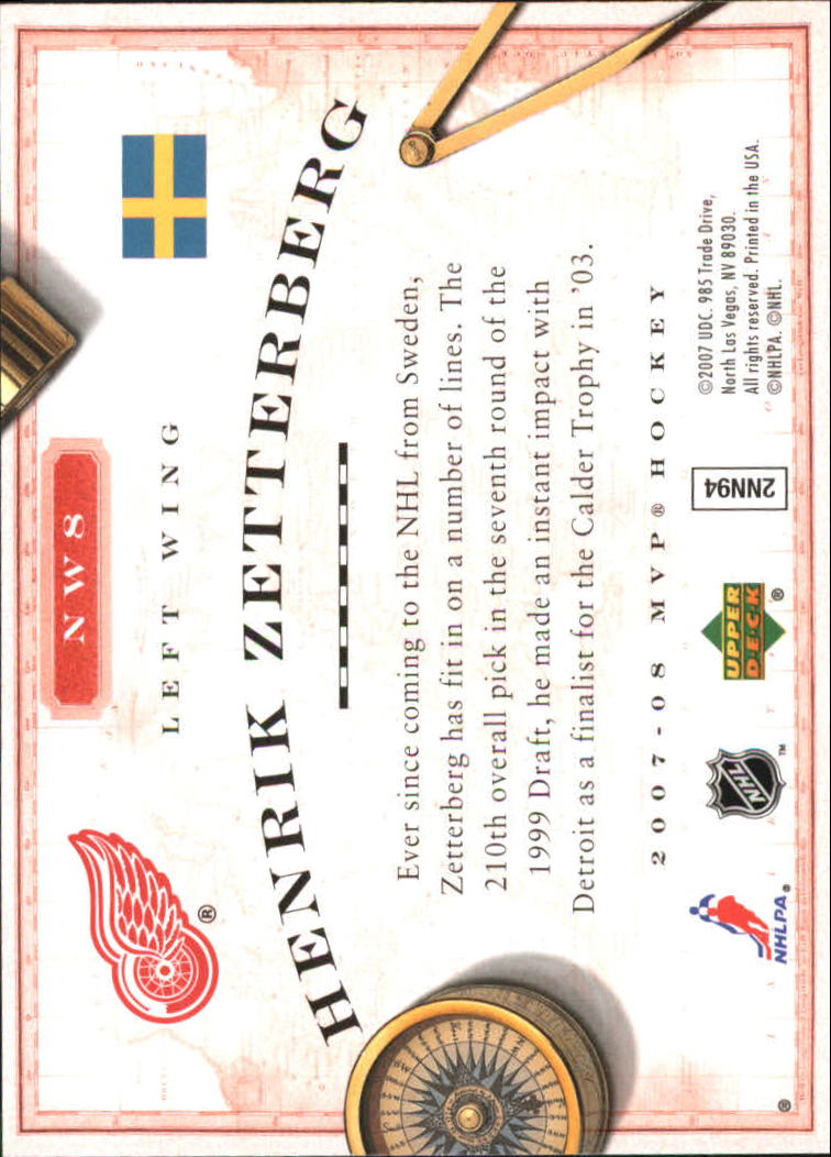 2007-08 Upper Deck MVP New World Order #NW8 Henrik Zetterberg back image