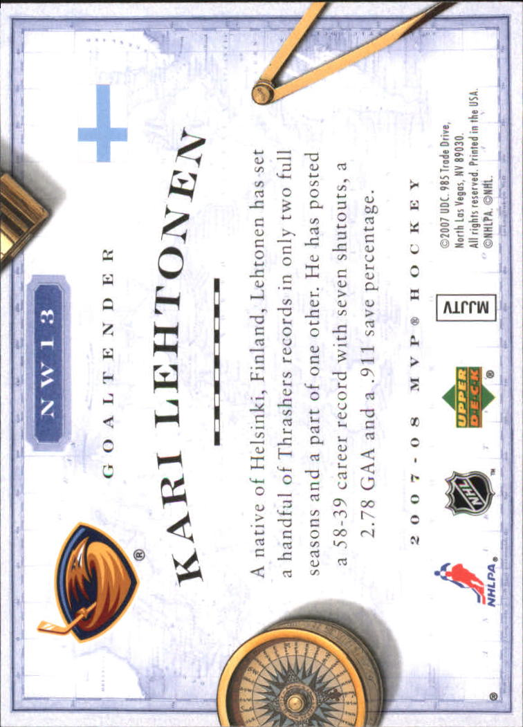 2007-08 Upper Deck MVP New World Order #NW13 Kari Lehtonen back image