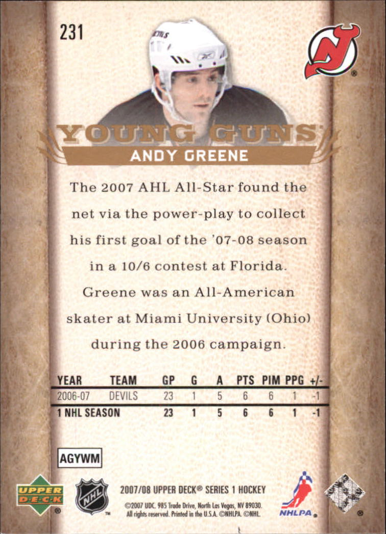 2007-08 Upper Deck #231 Andy Greene YG RC