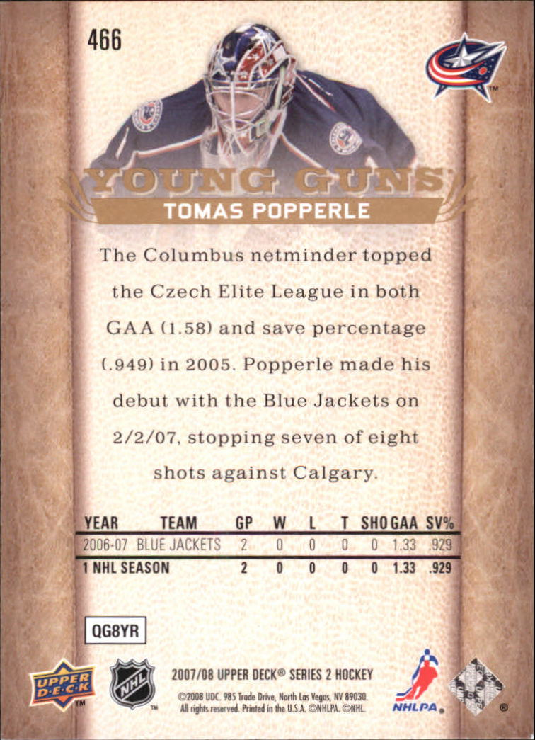 2007-08 Upper Deck #466 Tomas Popperle YG RC