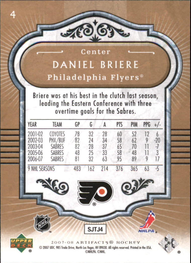 2007-08 Artifacts #4 Daniel Briere back image