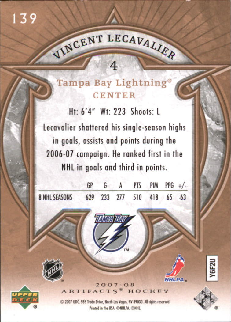 2007-08 Artifacts #139 Vincent Lecavalier S