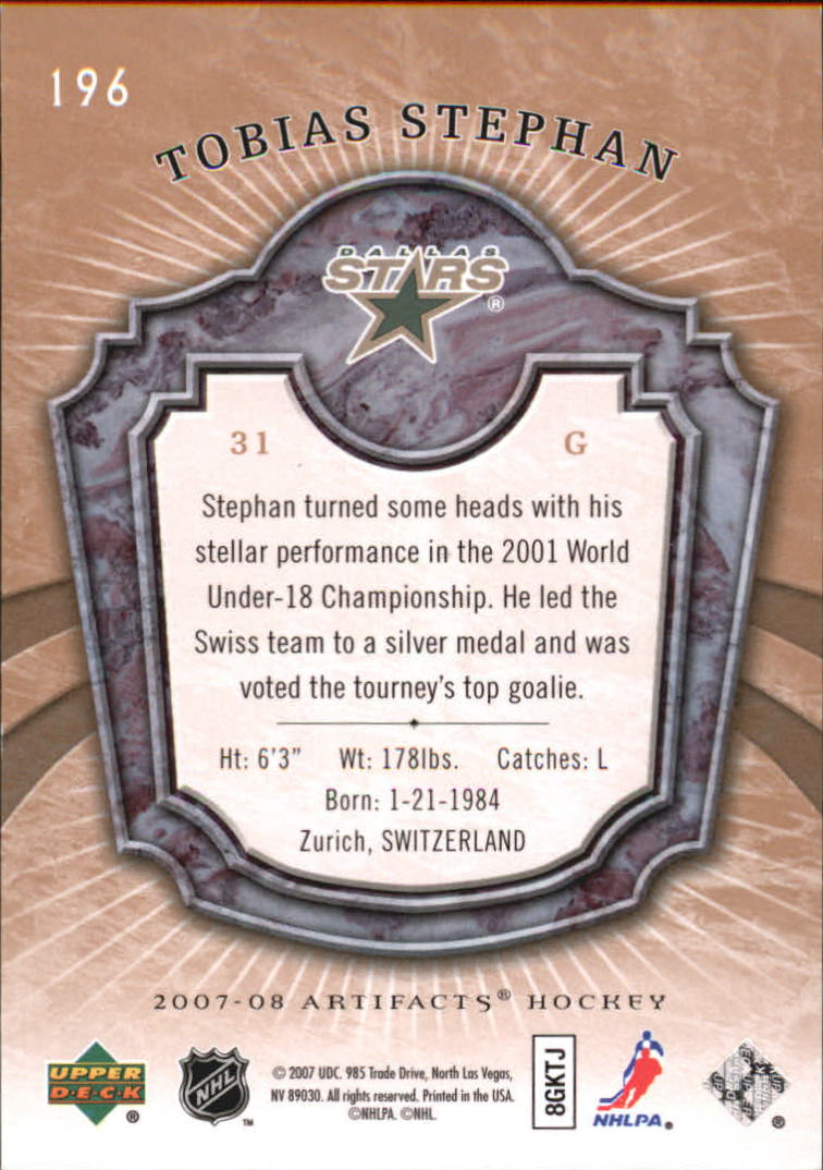 2007-08 Artifacts #196 Tobias Stephan RC back image