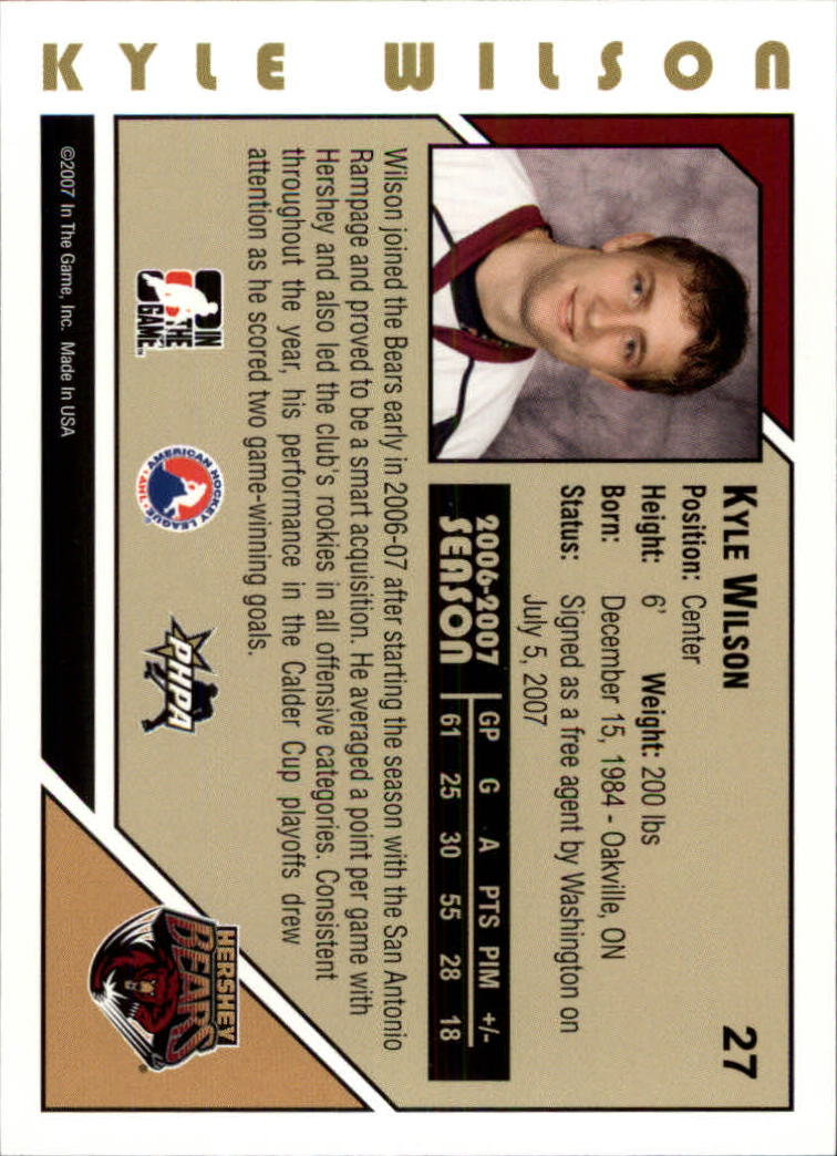 2007-08 ITG Heroes and Prospects #27 Kyle Wilson back image