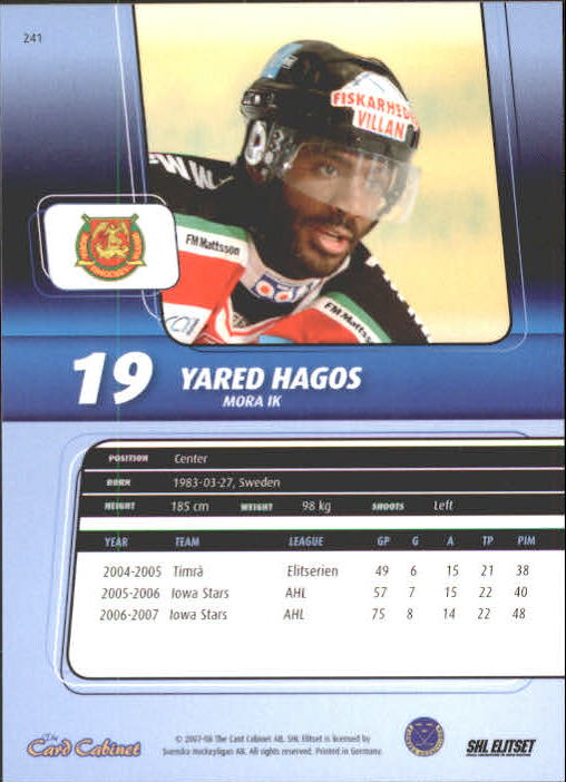 2007-08 Swedish SHL Elitset #241 Yared Hagos