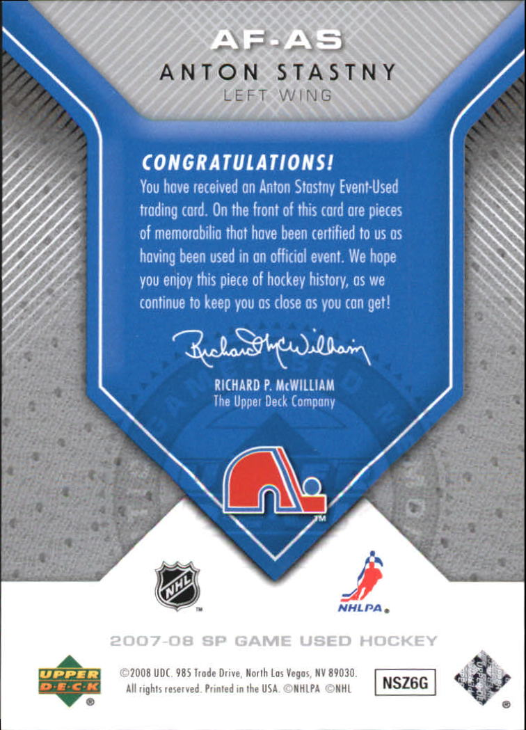 2007-08 SP Game Used Authentic Fabrics #AFAS Anton Stastny back image