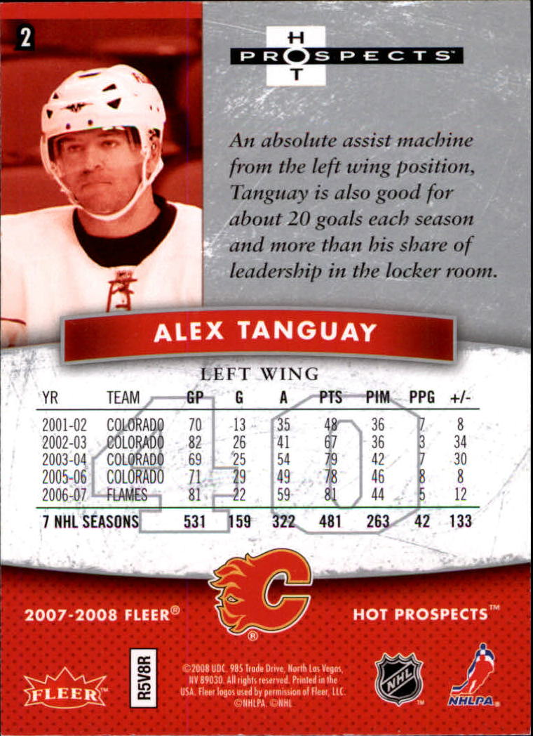 2007-08 Hot Prospects #2 Alex Tanguay back image