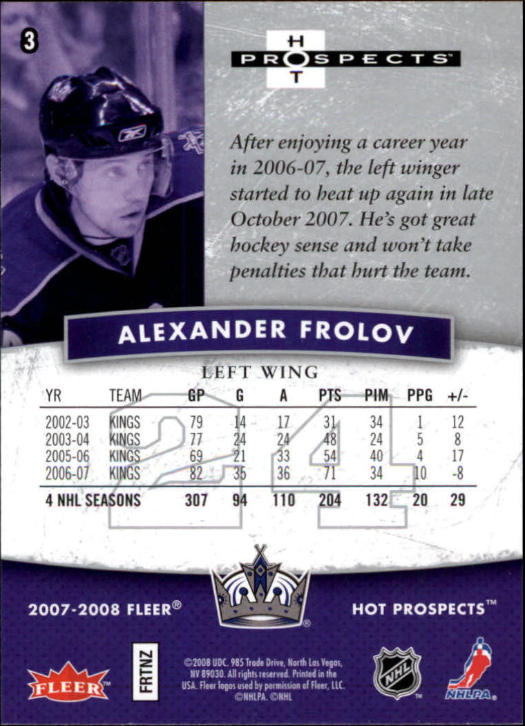 2007-08 Hot Prospects #3 Alexander Frolov back image