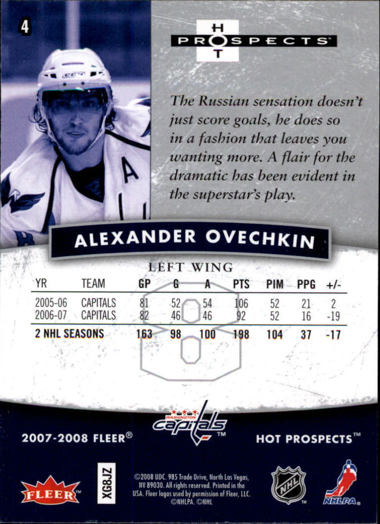 2007-08 Hot Prospects #4 Alexander Ovechkin back image