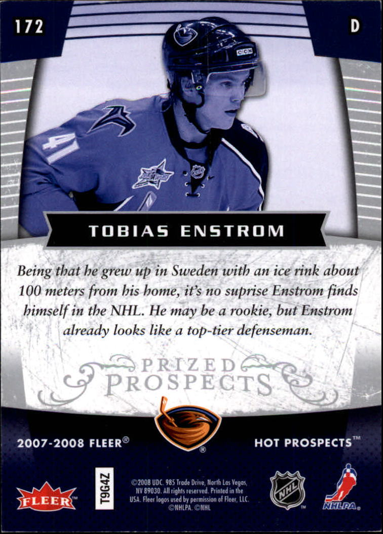 2007-08 Hot Prospects #172 Tobias Enstrom RC back image