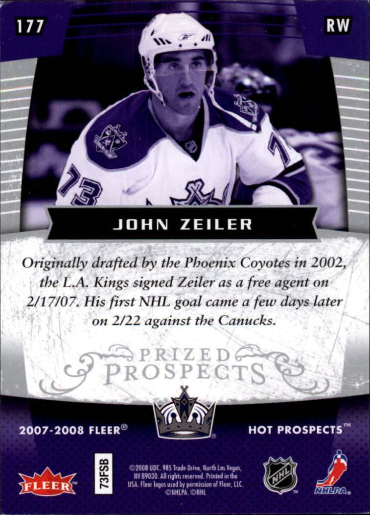 2007-08 Hot Prospects #177 John Zeiler RC back image