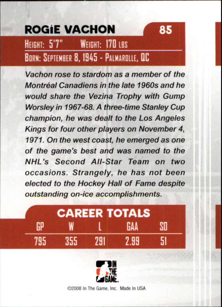 2007-08 Between The Pipes #85 Rogie Vachon back image