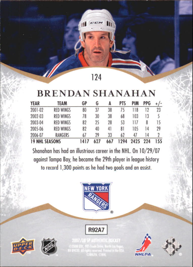 2007-08 SP Authentic #124 Brendan Shanahan NOT back image
