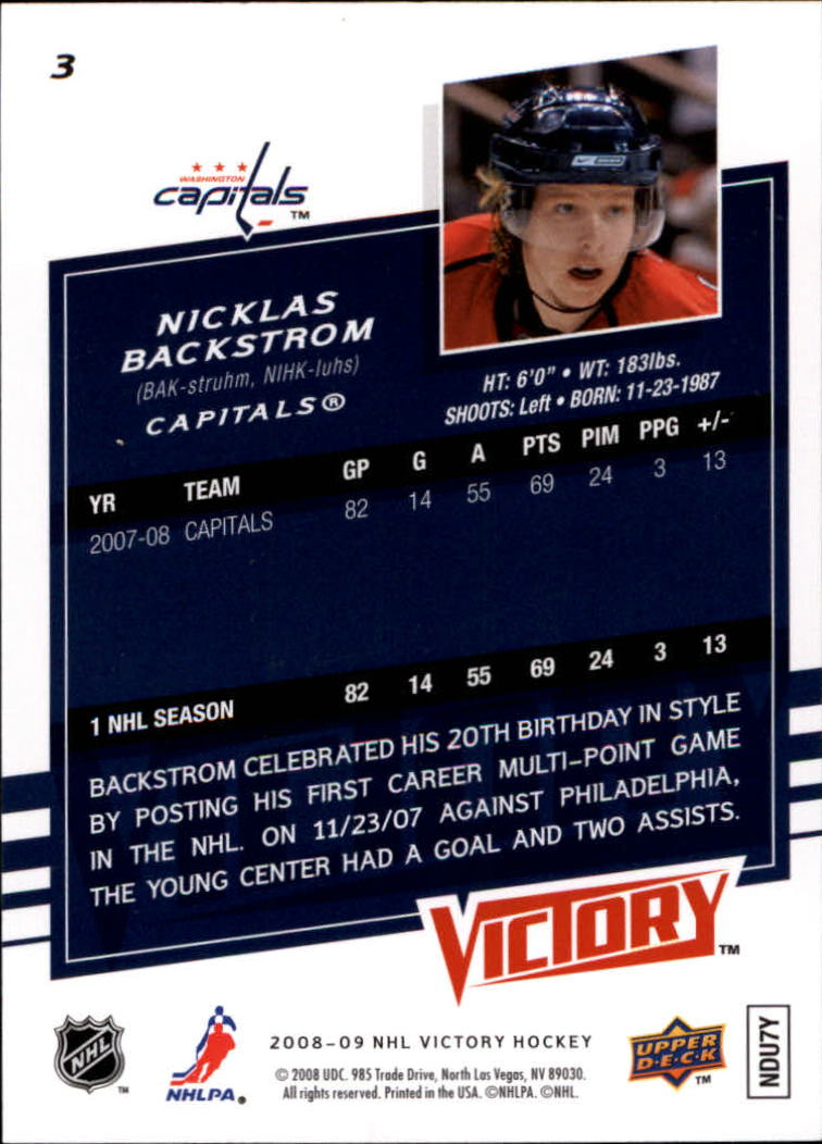 2008-09 Upper Deck Victory #3 Nicklas Backstrom