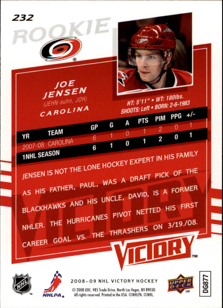 2008-09 Upper Deck Victory #232 Joe Jensen RC back image