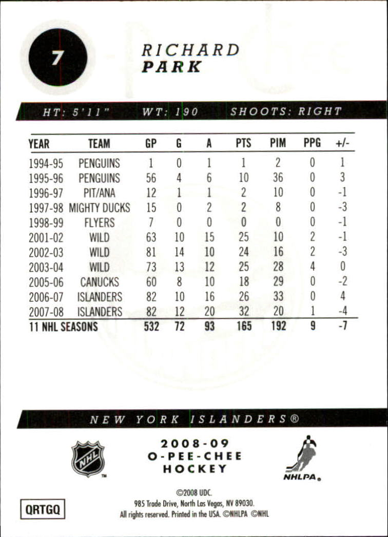 2008-09 O-Pee-Chee Gold #7 Richard Park back image